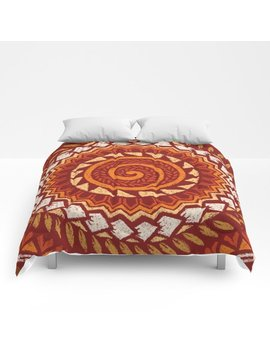 Retro Abstract 60s 70s Polynesian Tattoo Design Vintage Red Comforters by Society6