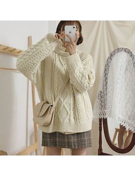 J Style   Cable Knit Sweater / Mini Plaid A Line Skirt / Set by J Style