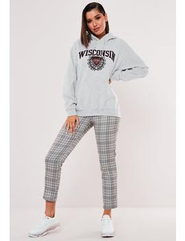 Grey Wisconsin Graphic Hoodie by Missguided