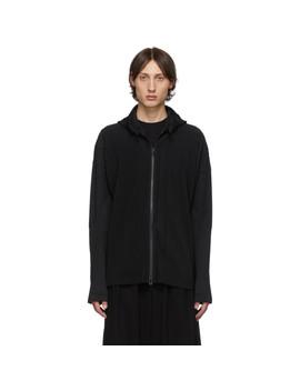 Black Pleated Zip Hoodie by Homme PlissÉ Issey Miyake