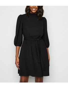 Black Frill Neck Belted Mini Dress by New Look