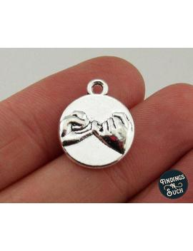 10 Pinky Promise/Pinky Swear Charms Best Friend Charm Antique Silver Tone 2 Sided 2436 by Etsy