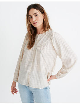 Balloon Sleeve Peasant Top In Windowpane by Madewell