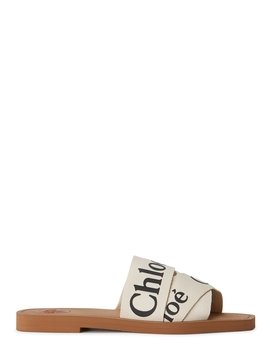 Woody Ivory Logo Print Sliders by Chloé