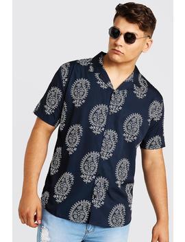 Big & Tall Paisley Revere Collar Shirt by Boohoo