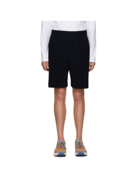 Navy Mc June Pleats Bottom 1 Shorts by Homme PlissÉ Issey Miyake