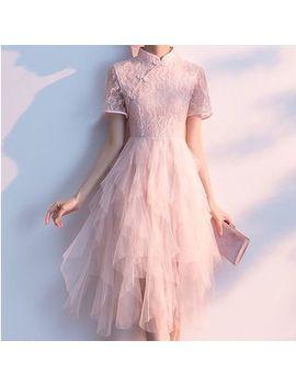 Kokuko   Short Sleeve Midi Mesh Qipao Dress by Kokuko
