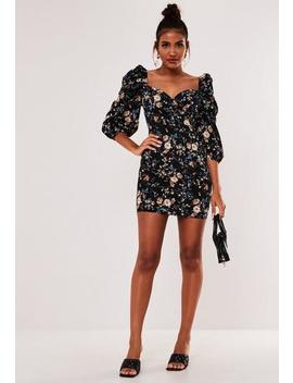 Black Floral Puff Sleeve Mini Dress by Missguided