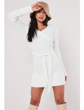 White Fluffy V Neck Wrap Tie Dress by Missguided