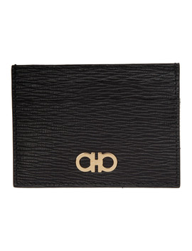 Black Gancini Card Holder by Salvatore Ferragamo