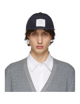Navy Logo Baseball Cap by Thom Browne