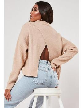 Tan Cut Out Asymmetric Back Jumper by Missguided