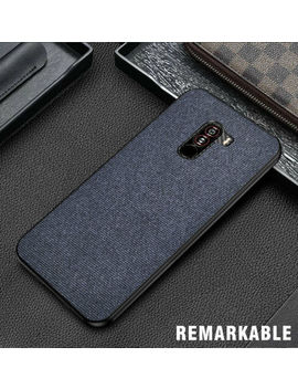 For Xiaomi Pocophone F1 Hybrid Fabric Canvas Cloth Leather Tpu Bumper Case Cover by Unbranded/Generic