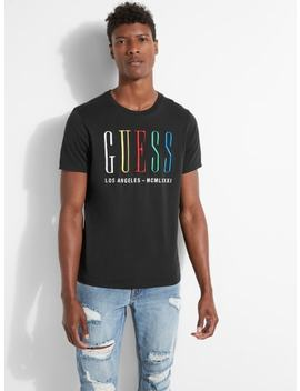 Multi Color Embroidered Logo Tee by Guess