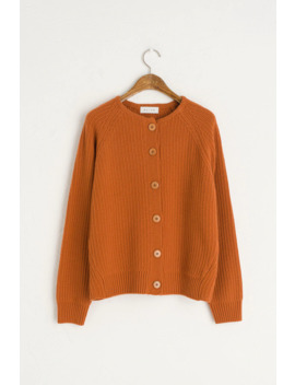Eun Simple Ribbed Cardigan, Amber by Olive