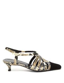 Savannah Snake Effect Leather Slingback Pumps by By Far