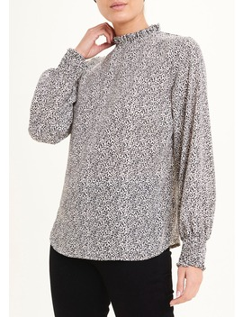 Long Sleeve Abstract Dot High Neck Blouse by Matalan