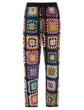 Sequinned Patchwork Crochet Trousers by Ashish