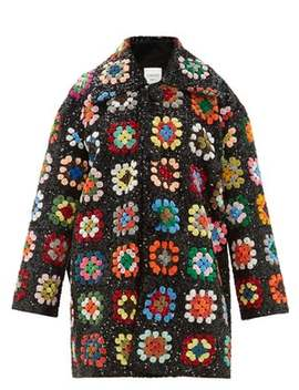 Sequinned Patchwork Crochet Blanket Coat by Ashish