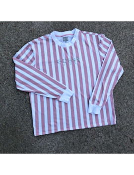 Guess Vertical Striped Long Sleeve Embroidered Tee Shirt by Vintage  ×  Guess  ×