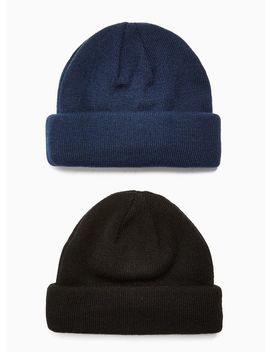 2 Black And Navy Docker Beanie Multipack by Topman