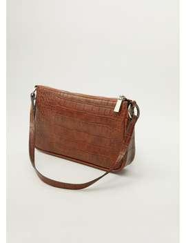 Timsah Derisi Görünümlü Baguette çanta by Mango