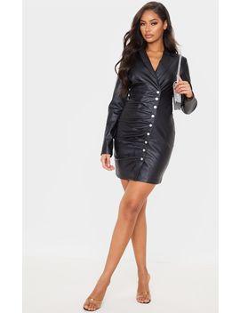 Black Pu Button Ruched Blazer Dress by Prettylittlething