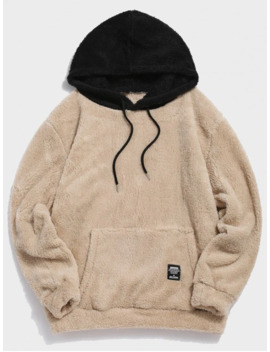 Popular Colorblock Splicing Drawstring Fluffy Hoodie   Light Khaki M by Zaful