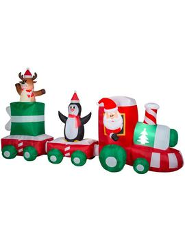 6 Ft. H X 11.5 Ft. L Pre Lit Airblown Inflatable Christmas Train Scene With Santa, Penguin And Reindeer by Home Accents Holiday
