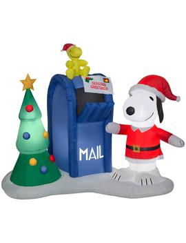 5.6 Ft. Pre Lit Inflatable Airblown Snoopy And Woodstock With Mailbox Scene by Peanuts