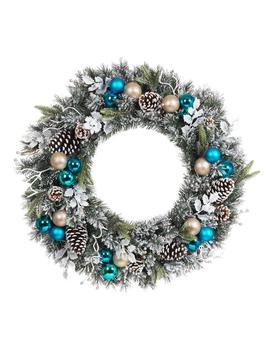 30 In. Flocked Pine Artificial Wreath With Blue Plate Balls by Home Accents Holiday