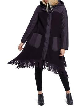 Catalyst Fringe Hem Coat With Hood by Nic+Zoe
