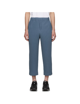 Blue Mc June Trousers by Homme PlissÉ Issey Miyake