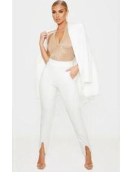 Gold Glitter Sheer Plisse Halterneck Bodysuit  by Prettylittlething