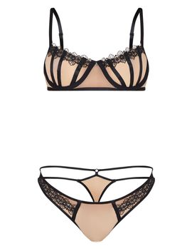 Nude Underwired Binding Detail Mesh Lingerie Set by Prettylittlething