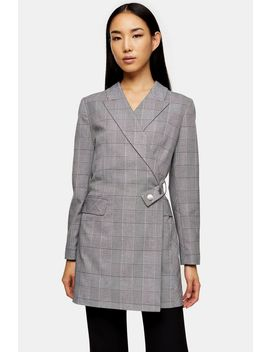 Black And White Check Blazer Dress by Topshop