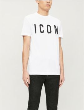 Icon Print Cotton Jersey T Shirt by Dsquared2