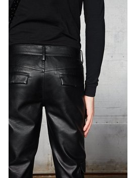 Black Panelled Vegan Leather Trouser by Jaded London
