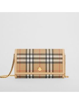 Vintage Check E Canvas Wallet With Detachable Strap by Burberry