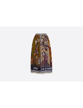 Multicolor La Roue De La Fortune Printed Cotton Wax Skirt by Dior