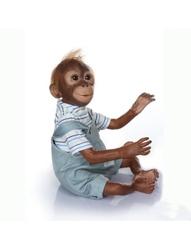 Cute 52cm Lifelike Monkey Silicone Vinyl +Soft Cotton Body Monkey Doll Kids Creative Surprise Toy Gift  by Wish