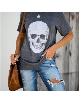 Skull Cotton Blend Tee by Lulusimonstudio