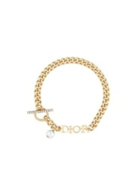 White Resin Bead And Crystal Accent Dio(R)Evolution Gold Finish Metal Bracelet by Dior