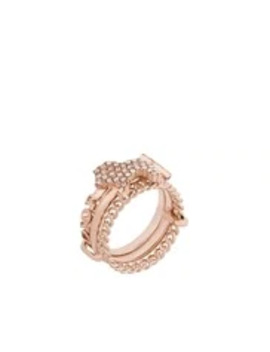 Pink Crystal Diorable Lion Rose Gold Finish Stacked Ring by Dior