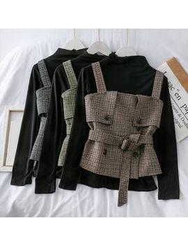 Lemongrass   Set: Mock Neck Knit Top + Woolen Checker Vest With Belt by Lemongrass