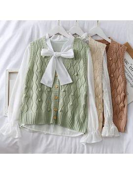 Lemongrass   Pompom Accent Eyelet Knit Vest by Lemongrass