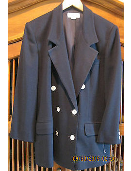 Anne Klein Ii Petites Solid Navy Blue Double Breasted Lined Blazer Jacket Us 8 P by Anne Klein
