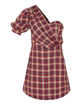 Red Check One Shoulder Puff Sleeve Bodycon Dress  by Prettylittlething