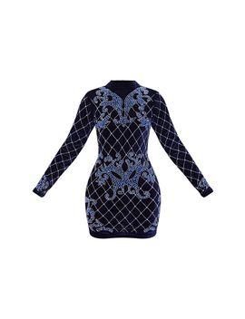 Navy Velvet Embellished Long Sleeve High Bodycon Dress by Prettylittlething