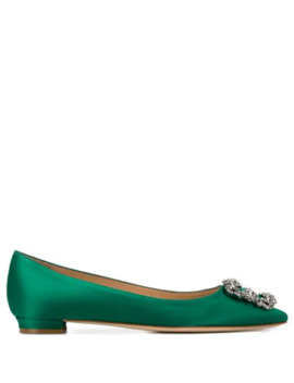 .Satin Hangisiflat Ballerina Shoes by Manolo Blahnik